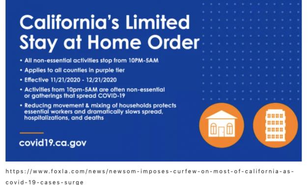 周六立即生效!纽森对整个加利福尼亚实施宵禁!